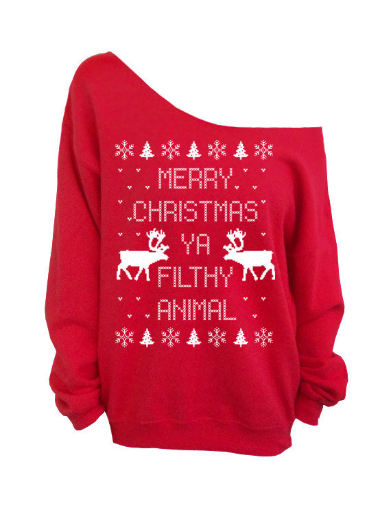 Merry Christmas Ya Filthy Animal  Ugly Christmas Sweater   Red Slouchy FkkZ1EMp