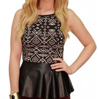 Aztec Print Leather Peplum Top