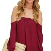 Magenta Off Shoulder Peasant Top