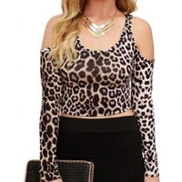 Leopard Print Long Sleeve Crop Top