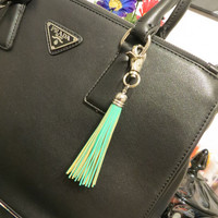 Mint Green Genuine Leather Tassel Key Chain - Leather bag charm, leather charm, keychain charm, handbag charm, tassel