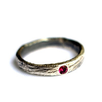 Scratch Band with Flush Set Pink Tourmaline