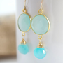 Blue Chalcedony Earrings Bezel Set Earrings by Jewels2Luv on Etsy
