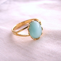 spring jewelry Aqua mint ring with vintage glass by shadowjewels