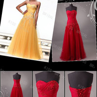 2013 Sleeveless sweetheart floor-length beach with appliques tulle evening dresses