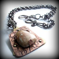 Handmade mixed metal and jasper stone pendant necklace