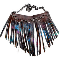 Neon Galaxy Leather Fringe Bib Necklace by Beatniq on Etsy