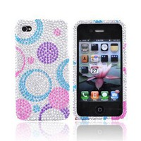 For Verizon AT&T Apple iPhone 4 Bling Hard Case Cover Circles PURPLE