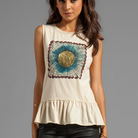 Chaser Feather Sun Peplum Muscle Tee in Muslin