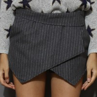 Grey Striped Skort Grey