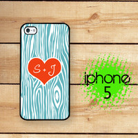 iPhone 5 Case 5S Personalized Carved tree Heart Initial  / Hard Case for iPhone 5 Plastic or Rubber Trim