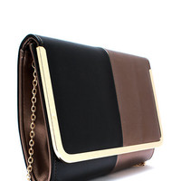 Two-Tone-Glossy-Clutch BLKCOPPER GOLDSILVER - GoJane.com