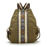 Burglarproof Design Vintage Tribe Pattern Embroidery Flower Canvas Backpack