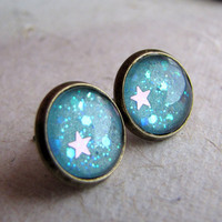 Star Post Earrings  Mint Celestial Princess  by AshleySpatula
