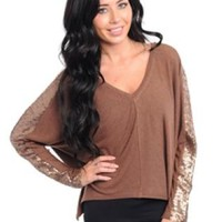 Long Sleeve Sequins Top Brown