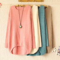 ROUND COLLAR STRIPE LONG SLEEVE KNIT SWEATER