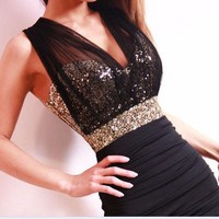 SEXY SLIM CLUBWEAR BLING SEQUINS VOILE BACKLESS MINI DRESS