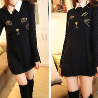 LONG SLEEVE CAT DRESS LONG SHIRT