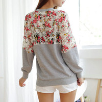 Vintage Lace Flower Back & Sleeve Sweater Shirt