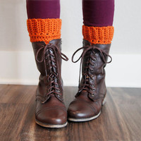 Crochet Boot Cuff Leg Warmers Bohemian Trendy Warm Fall Winter Boot Accessories in Pumpkin