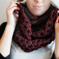 Chunky Crochet Infinity Double Wrap Circle Scarf Urban Boho Large Warm Winter Fall Neck Warmer Style in Maroon