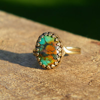 Natural American Turquoise Ring. Green Turquoise antiqued brass ring.