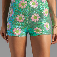 Wildfox Couture White Label Psychedelic Daisies Sequin Shorts in Glitter Green