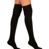 Black Solid Thigh High Socks