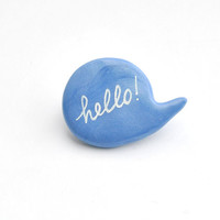 Light blue polymer clay brooch speech bubble