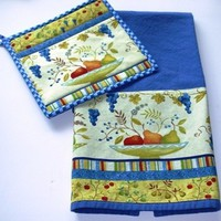 Kitchen Towel and Matching Pot Holder Set Mid Century Look