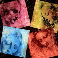 Da Vinci Coasters - Art Masters Sketchbook Series- Handmade Decoupage Glass Coasters- The Da Vinci Ladies