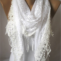 Elegant Triangular White Scarf with Trim Edge- White Shawl -Scarves- Christmas Gift