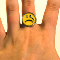 90's sad face ring