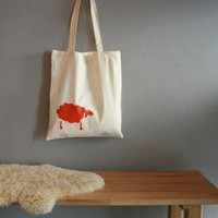 Hand printed organic tote with sheep by StrandRedesign on Etsy