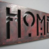 HOME Handpainted Oak Sign Dark Rose by studio724 on Etsy