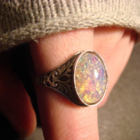 Victorian Style Fire Opal Antique Silver Ring by CreepyCreationz
