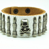 White Real Leather Bracelet with Bullet Rivet Women Jewelry Bangle Fashion Bracelet, Men bracelet   C019