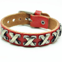 Red Real Leather Bracelet with Bullet Rivet Women Jewelry Bangle Fashion Bracelet, Men bracelet   C024