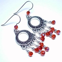 Bali Silver Chandelier w Swarovski 5000 Indian Red AB Crystal Earrings