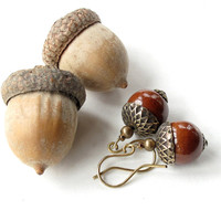 Acorn dangle earrings -  chestnut brown ceramic bead with antiqued brass caps