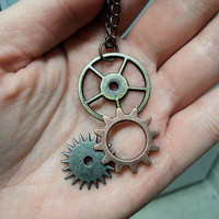 Steampunk Gears Necklace by myevilfriend on Etsy