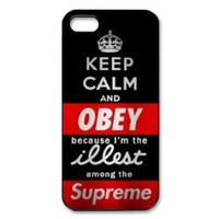 Treasure Design Funny Keep Calm And Obey illest Supreme JDM APPLE IPHONE 5 Best Durable Case