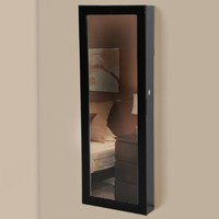 Mirrored Jewelry Cabinet Armoire Organizer Storage Wall Mount