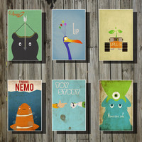 Disney Pixar movie posters All 6 movie posters by Harshness