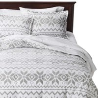 Holiday Flannel Duvet Cover Set - Gray Fair Isle Snow