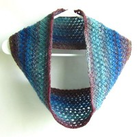 Beautiful Cowl Hand Knit Infinity Scarf Arctic Water Blues Fashion