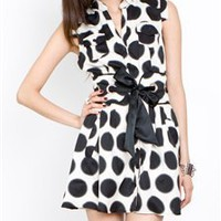 Polka dot button down dress with waist ribbon- Sophisticated Party Dresses