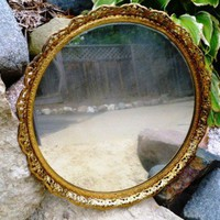 Vintage Gold Vanity Mirror or Tray, Paris Apartment Chic | RefinedVintage - Home Decor on ArtFire