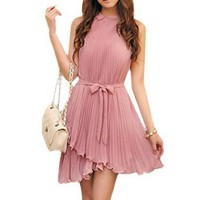 Allegra K Women Light Purple Stand Collar Waist Belted Pleated Dress S
