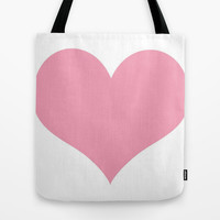 Pink Heart Tote Bag by Colorful Art